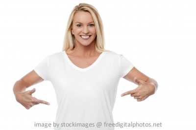 Woman Pointing Her Stomach